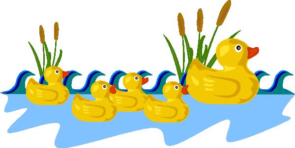 600x302 Rubber Duck Family Swimming Clip Art