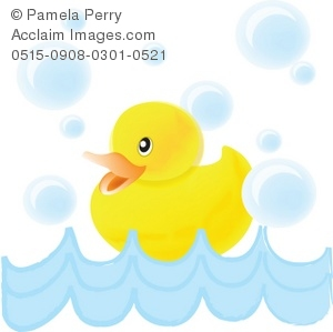 300x299 Art Illustration Of A Baby Duck Swimming With Bubbles