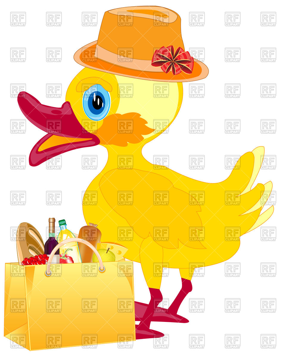 960x1200 Duckling In Hat With Food In Bag Royalty Free Vector Clip Art