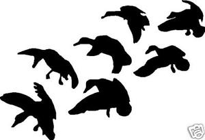 300x205 Silhouette Flock Ducks Landing Hunting Decal 8.5 X 5 Ebay