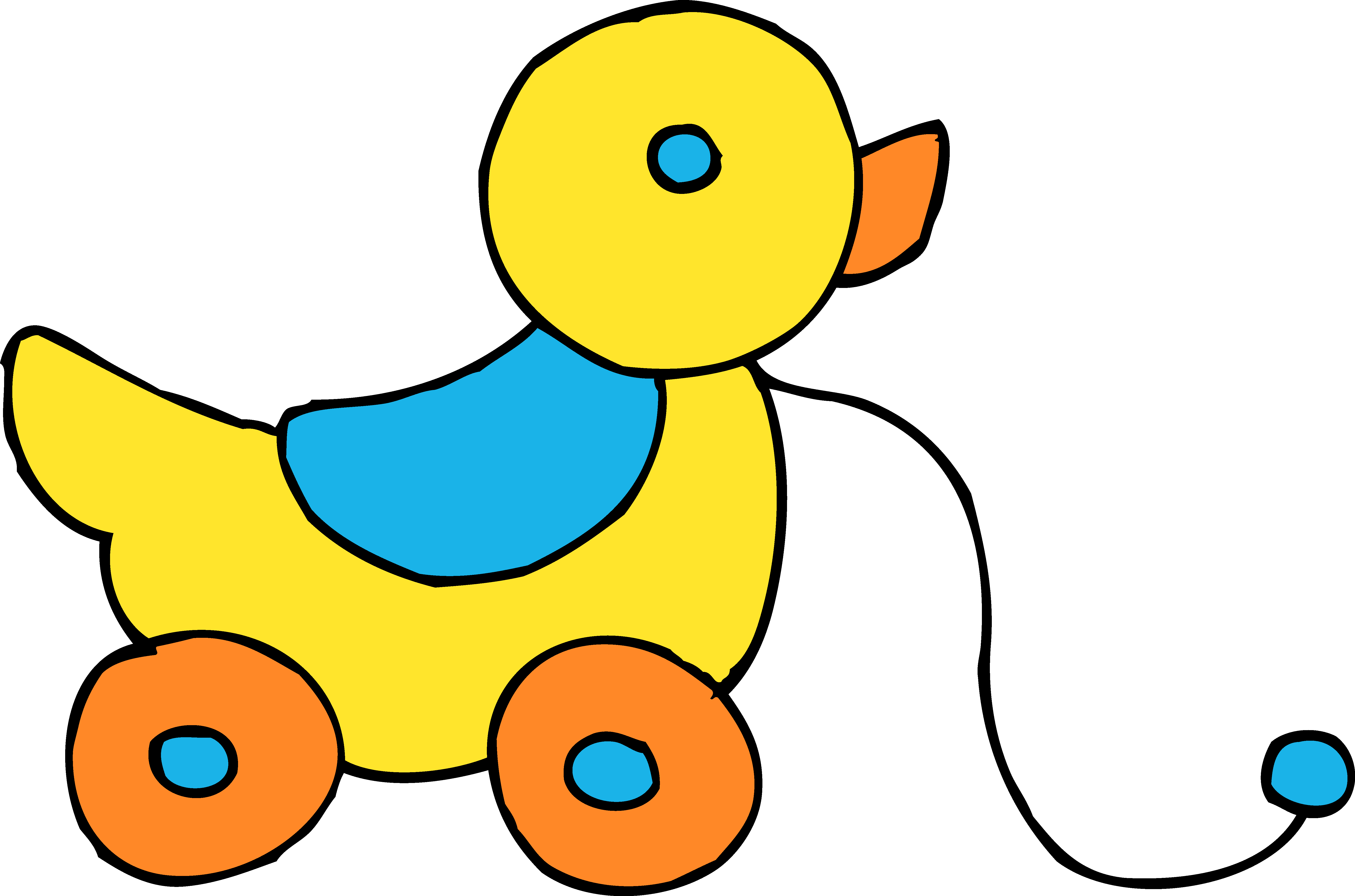 6279x4154 Rolling Yellow Ducky Toy Clipart