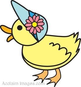 278x300 Clip Art Picture Of A Duck Wearing An Easter Bonnet