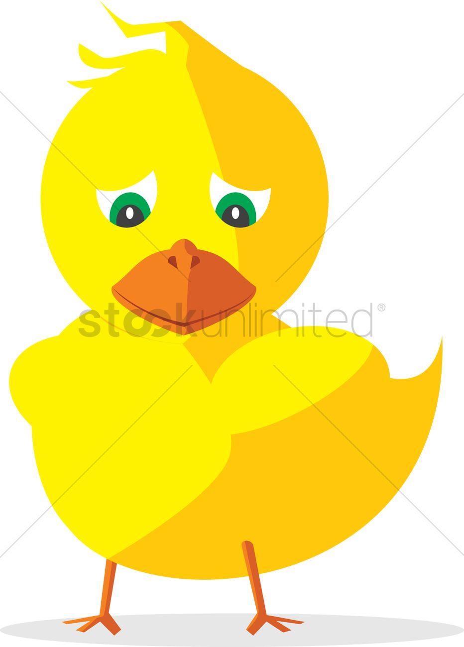 932x1300 Free Sad Duck Vector Image