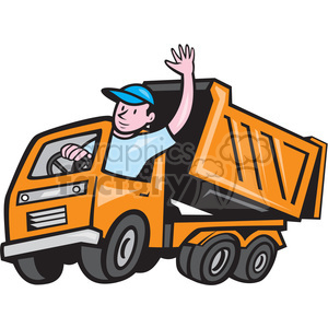 300x300 Royalty Free Dump Truck Driver Wave Iso 394575 Vector Clip Art
