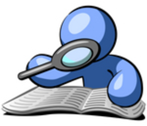 300x258 Cliprt Graphic Of Blue Guy Character Researching Book