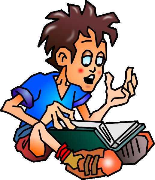 516x599 Free Boy Reading Book Clip Art