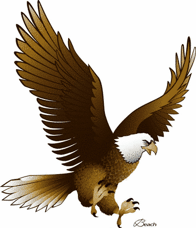 400x465 Eagle clip art with raised wings free clipart images