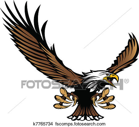 450x411 Clipart Of Eagle Mascot Flying With Talons K7765734