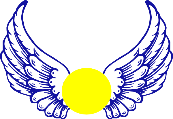 600x416 Blue Eagle Wing With Softball Clip Art