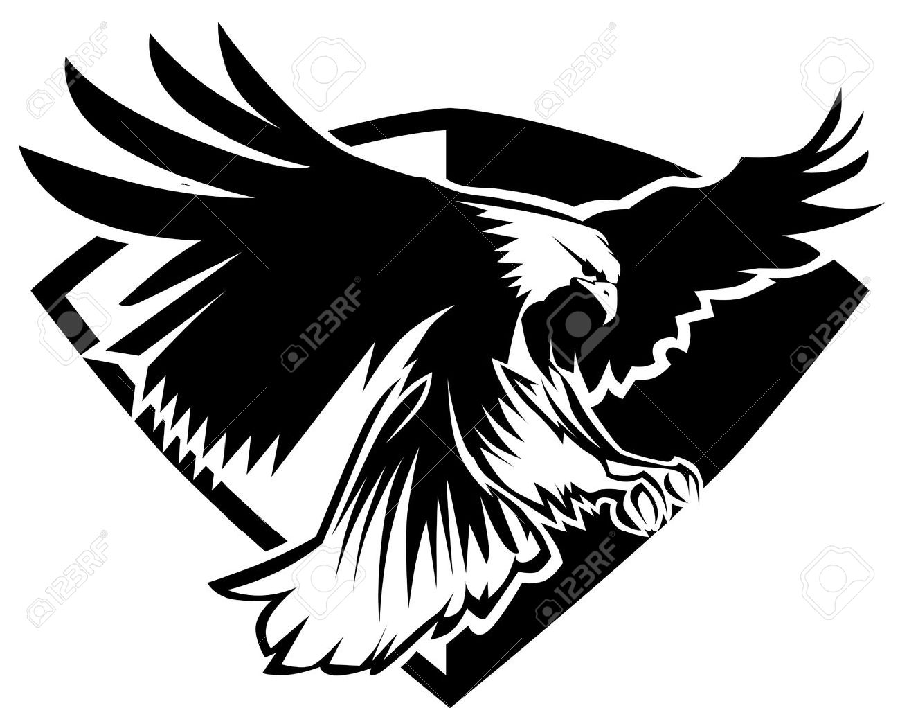 1300x1022 Eagle Mascot Flying Wings Badge Design Royalty Free Cliparts