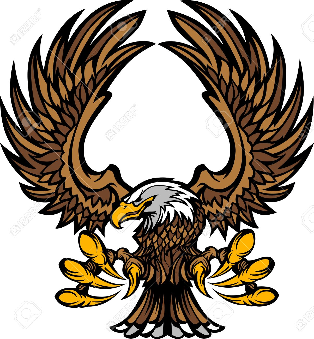 1204x1300 Eagle Wings And Claws Mascot Logo Royalty Free Cliparts, Vectors