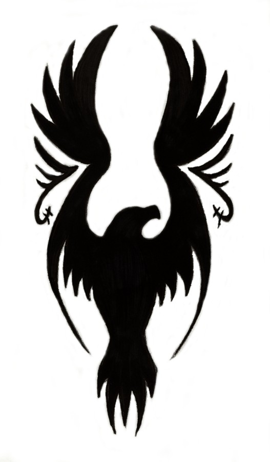 527x900 Open Wings Flying Eagle Tattoo Design