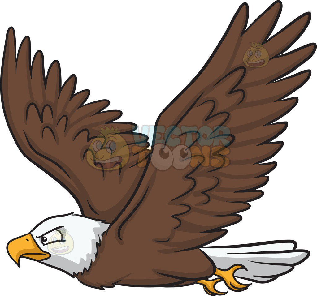1024x957 A Flying Bald Eagle Cartoon Clipart