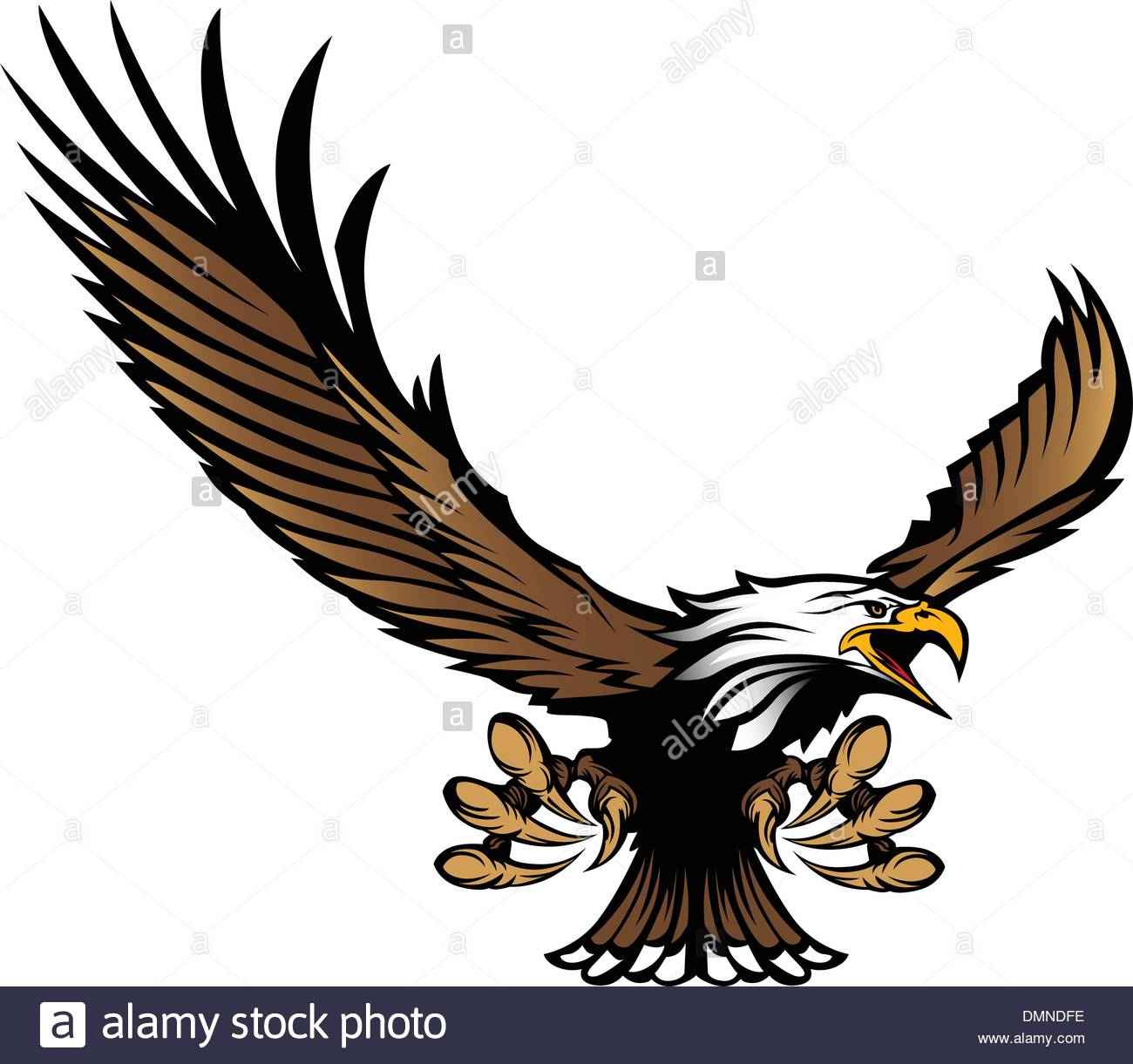 1300x1221 Eagle Mascot Flying With Talons And Wings Stock Vector Art