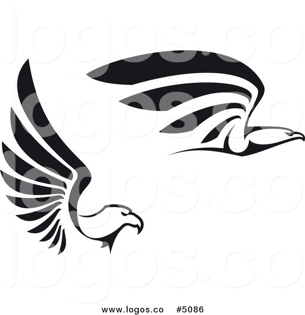 600x620 Royalty Free Vector Of Black And White Flying Eagle Logos By