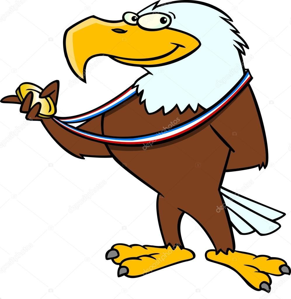 997x1024 Cartoon Eagle Gold Medal Stock Vector Ronleishman
