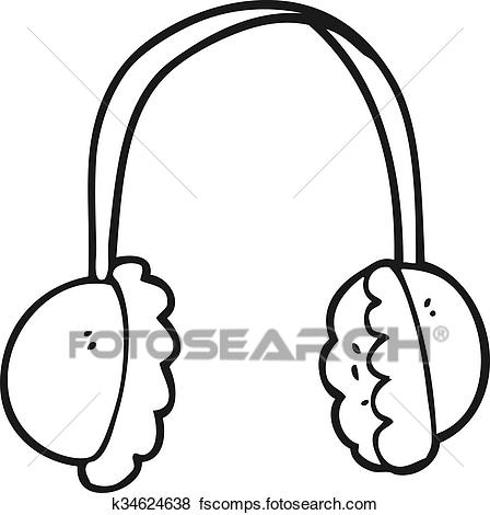 448x470 Clip Art Of Black And White Cartoon Ear Muffs K34624638