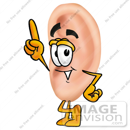 450x450 Clip Art Graphic Of A Human Ear Cartoon Character Pointing Upwards