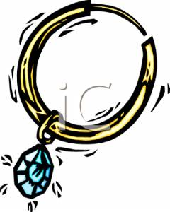 240x300 Colorful Cartoon Of A Hoop Earring With A Turquoise Gem