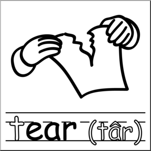 304x304 Clip Art Basic Words Ear Phonics Tear 1 Bampw I