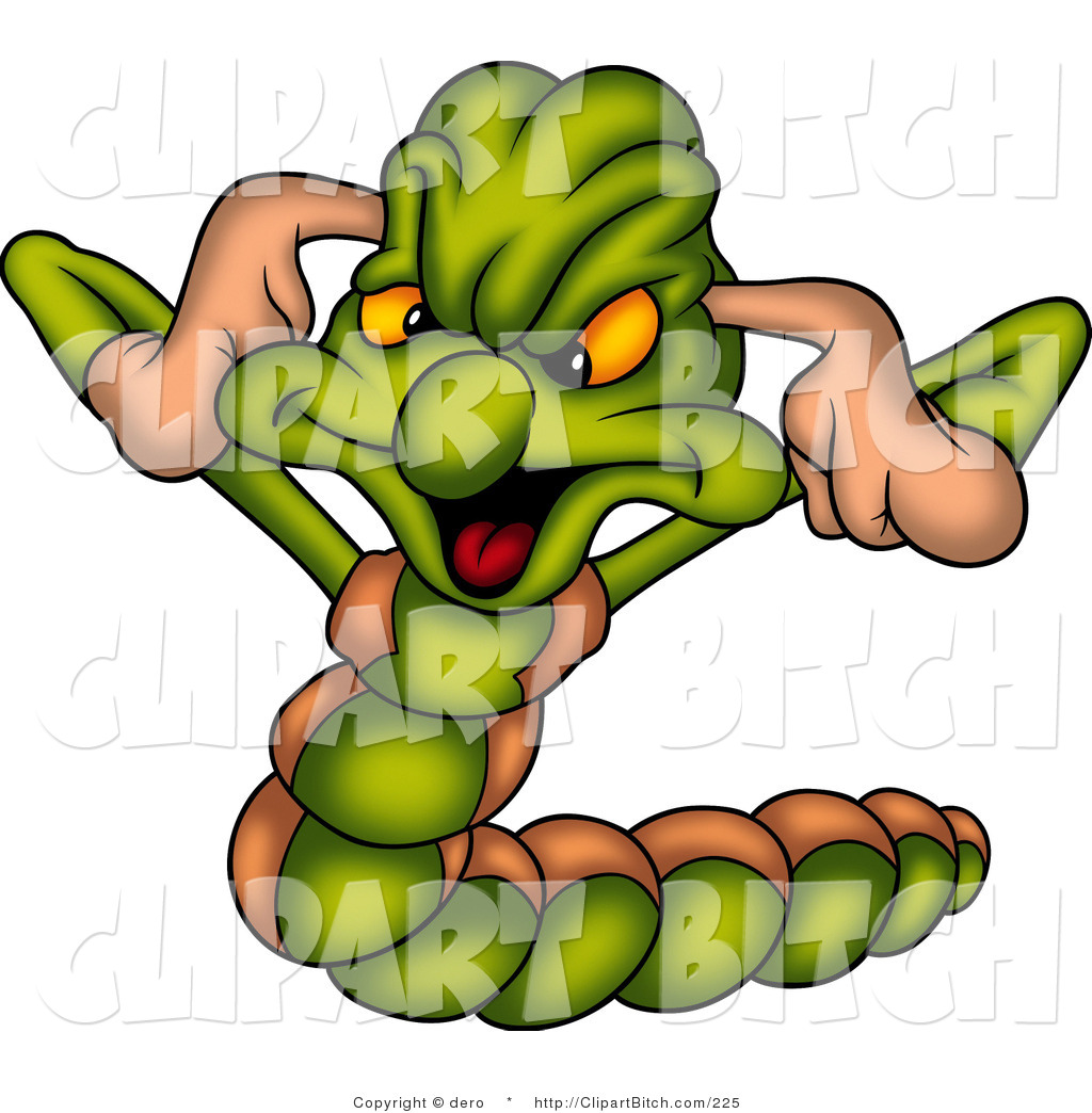 1024x1044 Clip Art Of A Mad Green Worm Plugging His Ears, Not Listening By