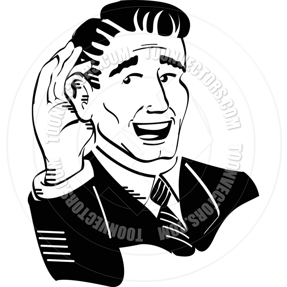 940x940 Cartoon Man Listening Vector Illustration By Clip Art Guy Toon
