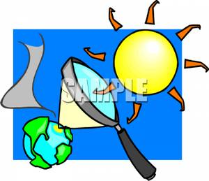 300x259 Free Clipart Image The Sun Magnifying Heat on the Earth