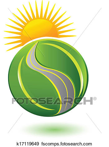 350x470 Clip Art of Earth of leafs sun and road logo k17119649