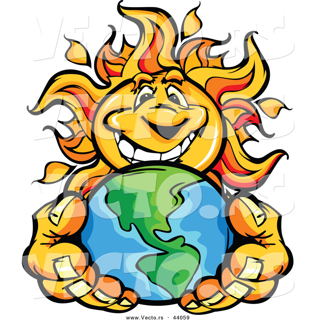 1024x1044 Vector of a Happy Cartoon Sun Mascot Holding Earth in His Hands by