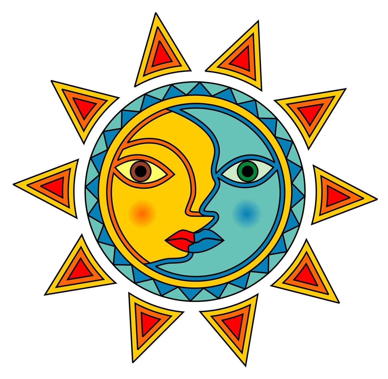 1359x1330 free sun and moon clipart