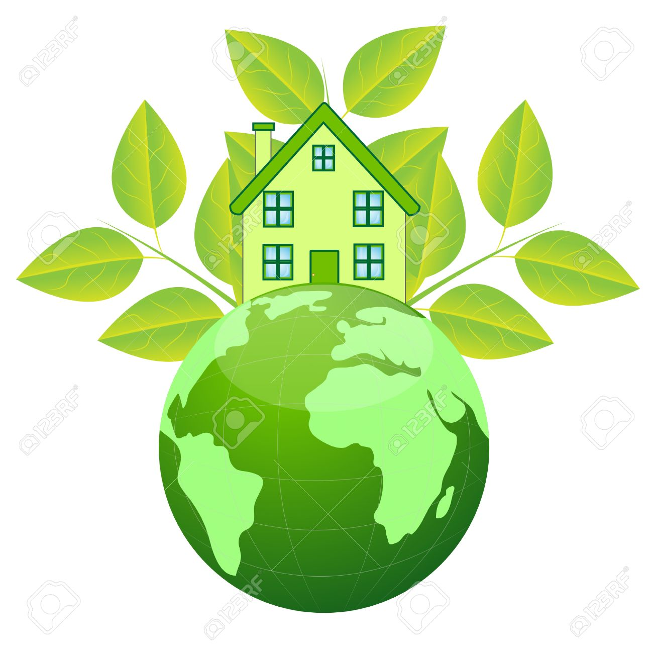 1300x1293 House And Planet Earth On A White Background Royalty Free Cliparts