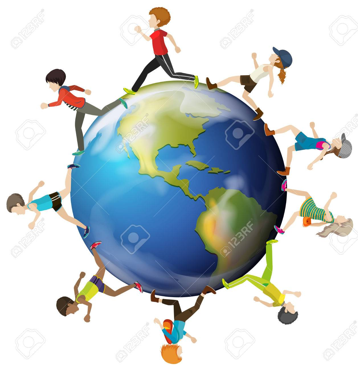 1257x1300 Planet Earth Surrounded With Kids On A White Background Royalty