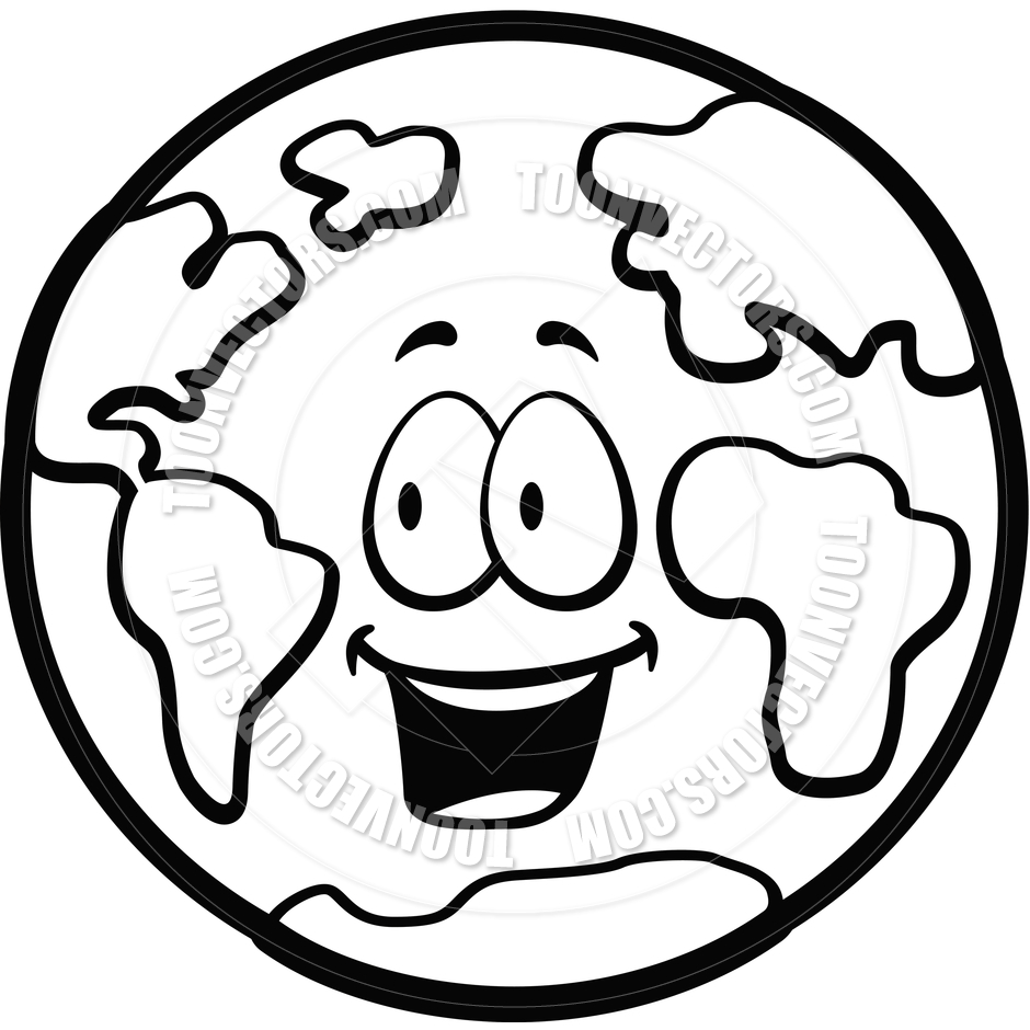 940x940 Earth Smiling (Black And White Line Art) By Cory Thoman Toon