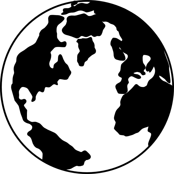 600x600 Black White Earth Globe Clip Clipart Panda