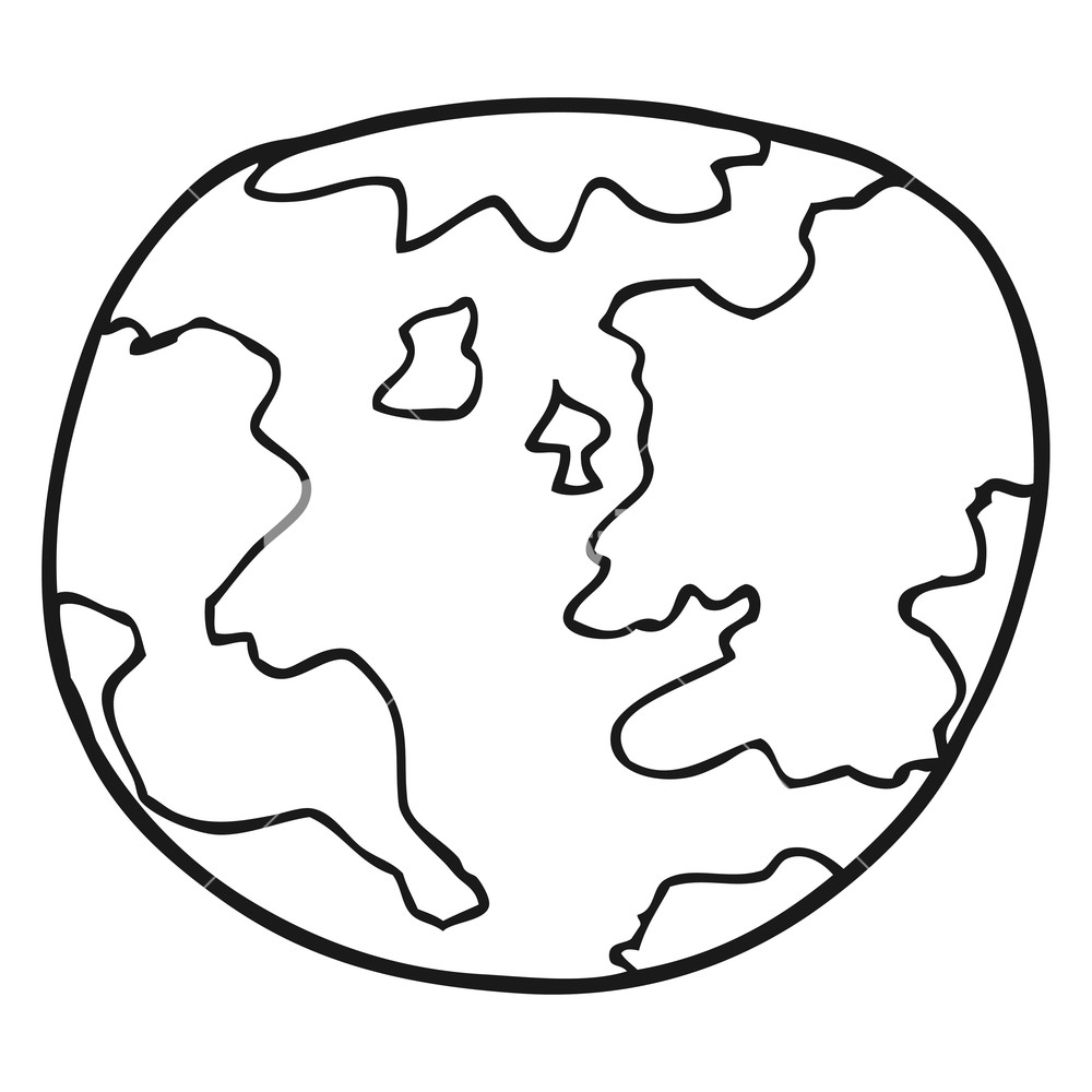 1000x1000 Freehand Drawn Black And White Cartoon Planet Earth Royalty Free