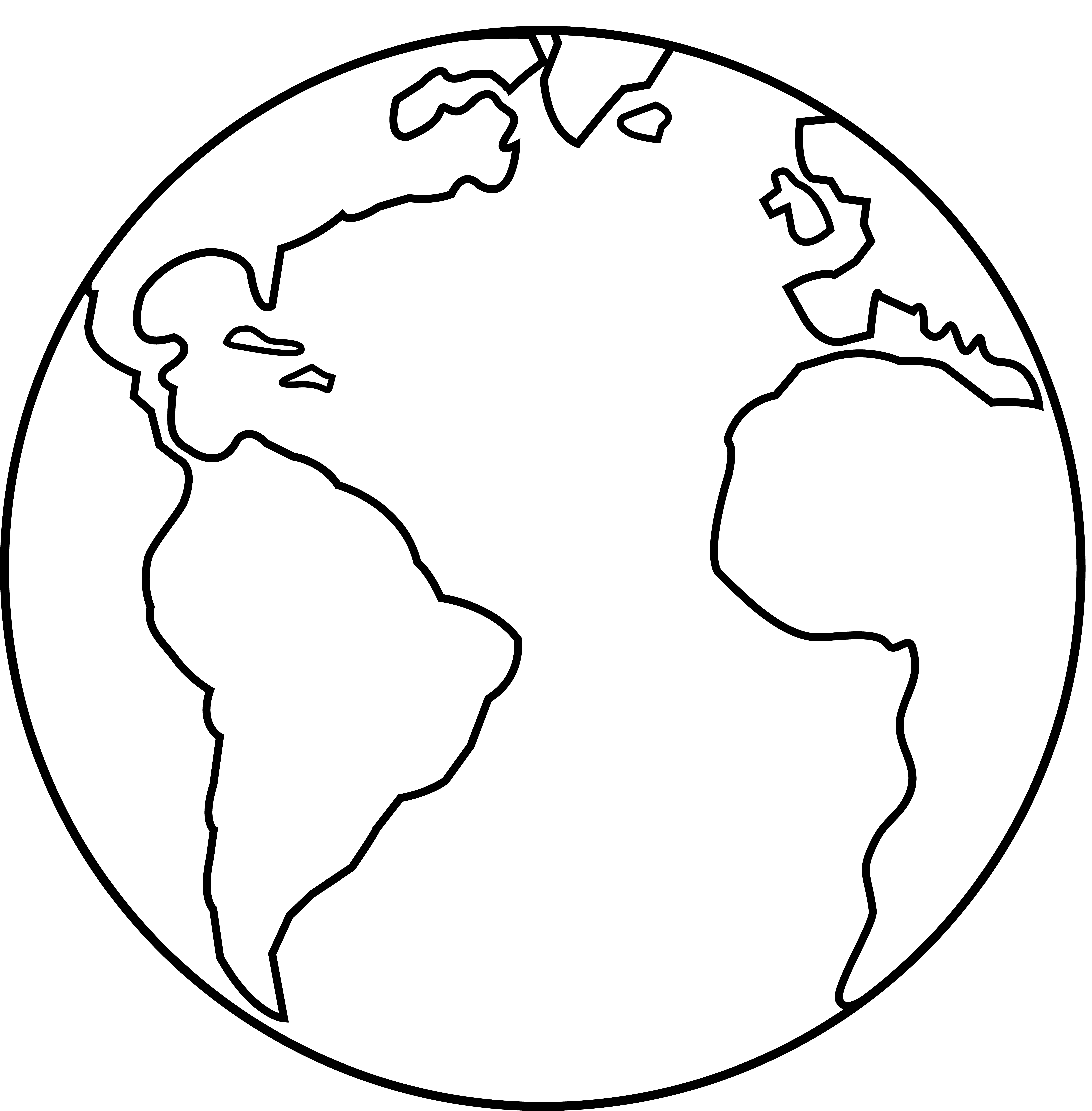 7629x7765 Earth Clipart Black And White