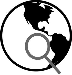 282x297 Simple Black And White Earth With Magnifying Glass Clip Art
