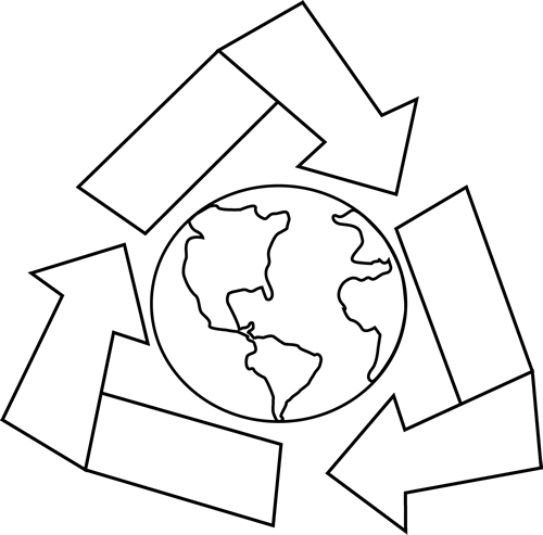 500x493 Black And White Earth With Recycle Symbol Clip Art