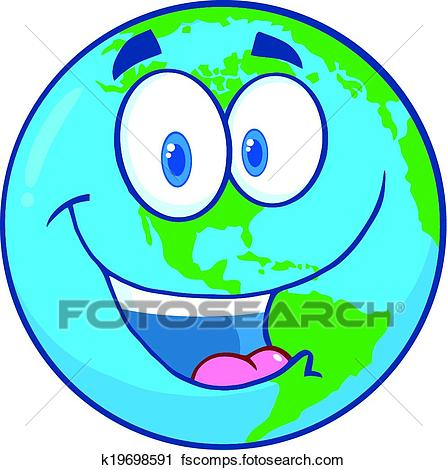 447x470 Clipart Of Earth Cartoon Character K19698591