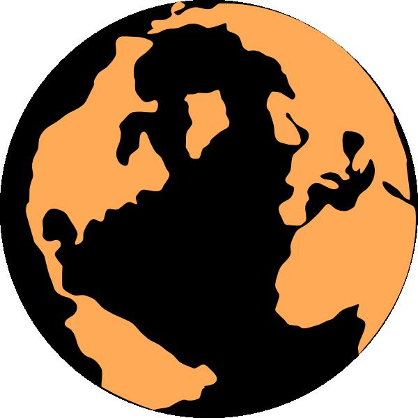 600x601 Orange And Black Globe Clip Art