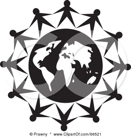 450x470 Black And White Globe Clipart