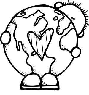 300x321 Earth Day Clipart Black And White