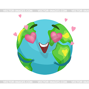 300x300 Earth Planet Character With Pink Heart