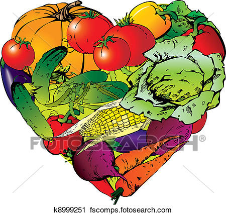 450x428 Clipart Of Vegetables In The Shape Of Heart. K8999251