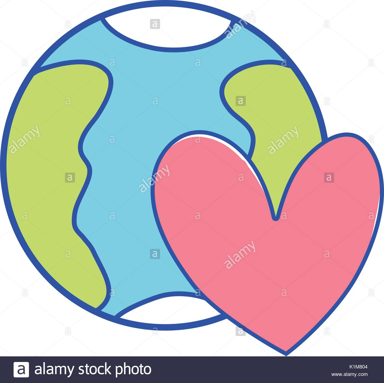 1300x1294 Earth Map Heart World Stock Vector Images