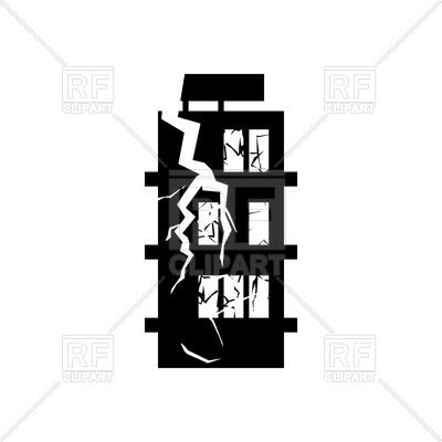 400x400 Destroyed Building Earthquake Royalty Free Vector Clip Art Image