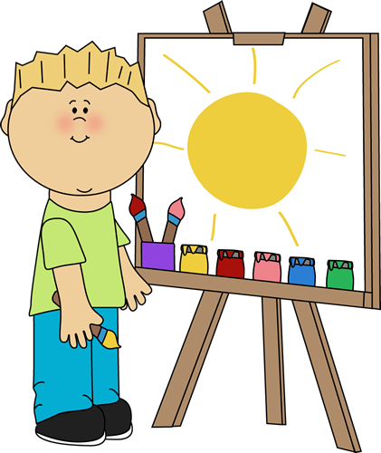421x500 Boy Painting On An Easel Clip Art