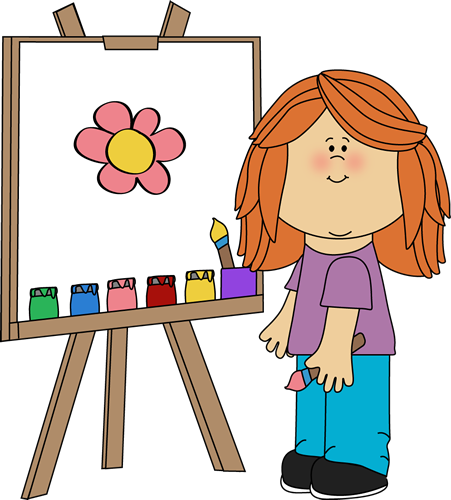 451x500 Girl Painting On Easel Clip Art