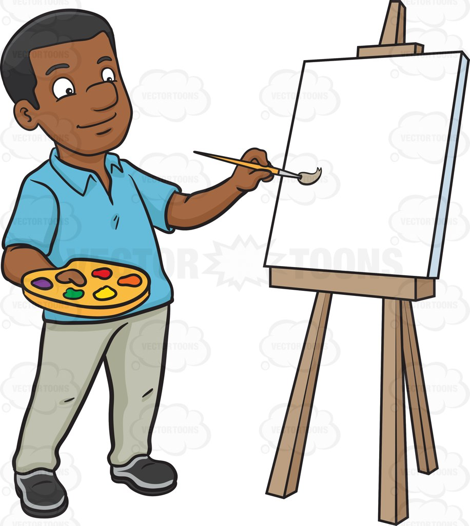 916x1024 A Black Man Painting On A Blank Canvas Cartoon Clipart
