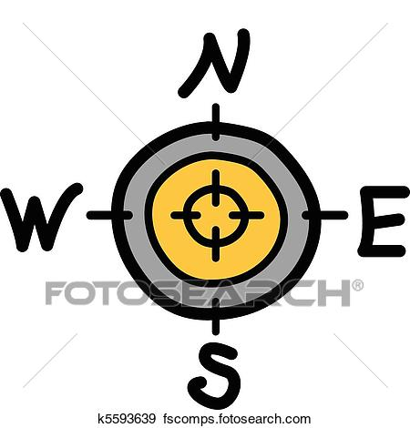 450x470 Clip Art Of Compass With North South East West K5593639